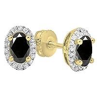18Kイエローゴールド7x 5mm各楕円形宝石用原石&ラウンドホワイトダイヤモンドレディースHaloスタッドイヤリング