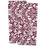 DII 100% Cotton, Everyday Basic Kitchen Dishtowel, Tea Towel, Drying, Damask Printed, 18 x 28 Set of 2- Wine