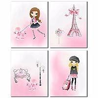 ピンクのパリ装飾の女の子の部屋には4つのセット Pink Paris Decor - Girl's Room Set of Four Painting silk fabric poster シルクファブリックポスター 40cm x 33cm