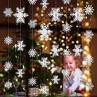 Tatuo 16ピース 3D 雪の結晶 吊り下げ デコレーション くりぬき 雪の結晶 ペンダント 合計98.4フィート クリスマス ホワイト 雪の結晶 デコレーション オーナメント クリスマス ホリデー テーマ パーティー用品