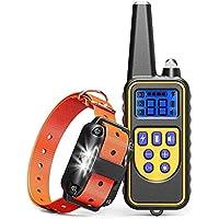 犬の訓練の首輪、100%IPX7防水充電式875ヤードLEDライト/ビープ/振動/ショックモードのリモート犬のショック首輪、小中大型犬用の犬の樹皮首輪 (一個遠隔コントローラー一個受信機)
