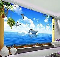 Bzbhart 3Dリビングルームのテレビの背景美しい海の風景の壁紙の壁画3Dの立体壁紙-450cmx300cm