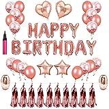 誕生日 飾り付け セット HAPPY BIRTHDAY 風船 バースデー デコレーション ローズゴールドカラー紙吹雪入れ バルーン パーティー お祝い 装飾 インフレータブルチューブ 付き 50点セット