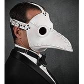 レザー製 ペストマスク ホワイト Plague Doctor mask ※レンズカラーレッド※
