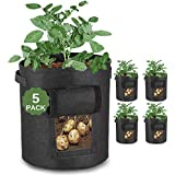JUSTGROW 5 PACK 10 GALLON LARGE POTATO GROW BAGS WITH VELCRO VEIWING WINDOW | POTATO GROW BAG, PREMIUM REINFORCED BREATHABLE FABRIC POTATO GROW BAG | GARDEN PLANT BAGS WITH HANDLES | WATCH YOUR VEGETABLES GROWING.