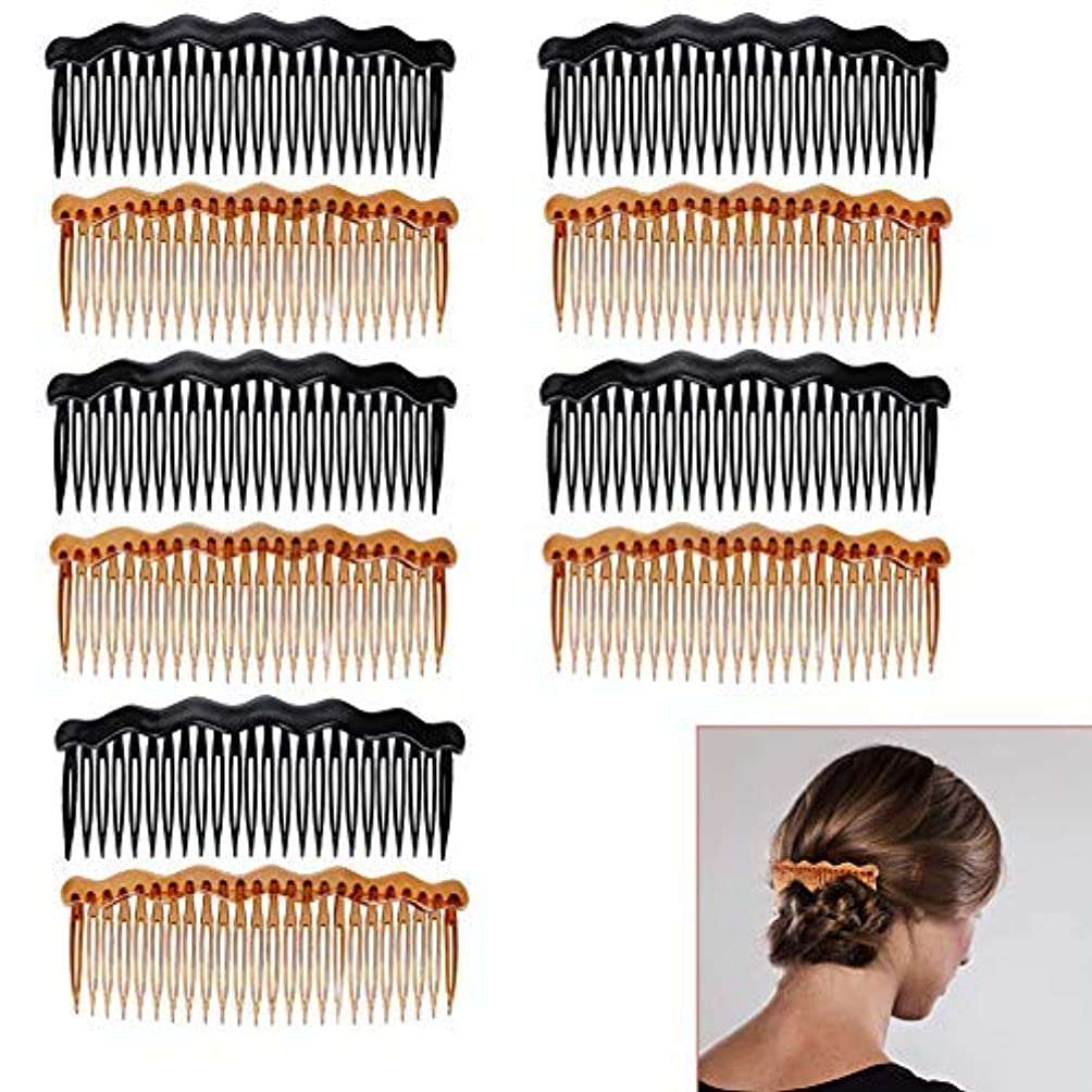 地味な写真のカップLuckycivia 10Pcs Plastic French Twist Comb, Side Hair Combs with 24 Teeth Hair Comb for Fine Hair,Hair Combs Accessories...