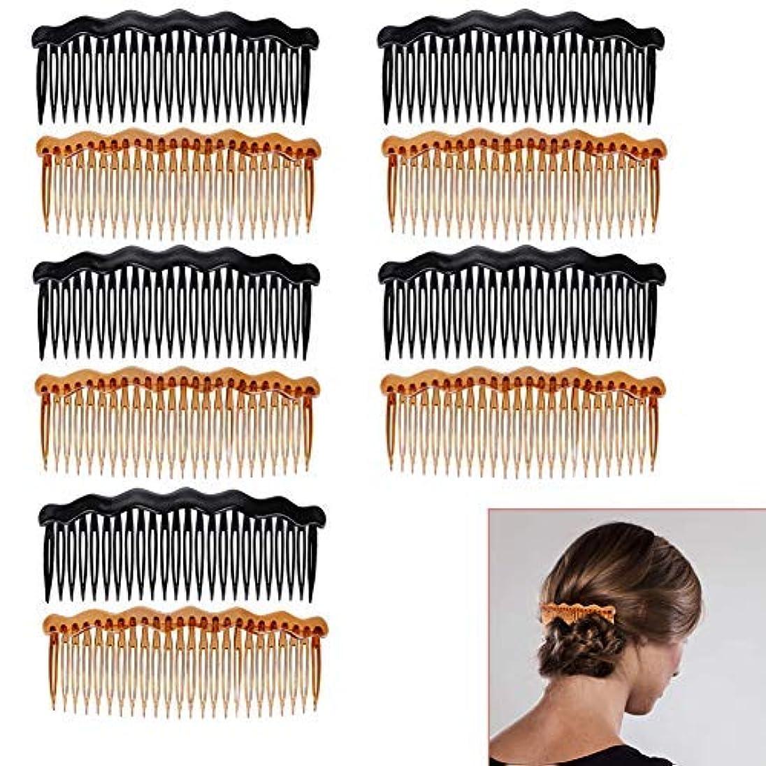 人間最大の小康Luckycivia 10Pcs Plastic French Twist Comb, Side Hair Combs with 24 Teeth Hair Comb for Fine Hair,Hair Combs Accessories...