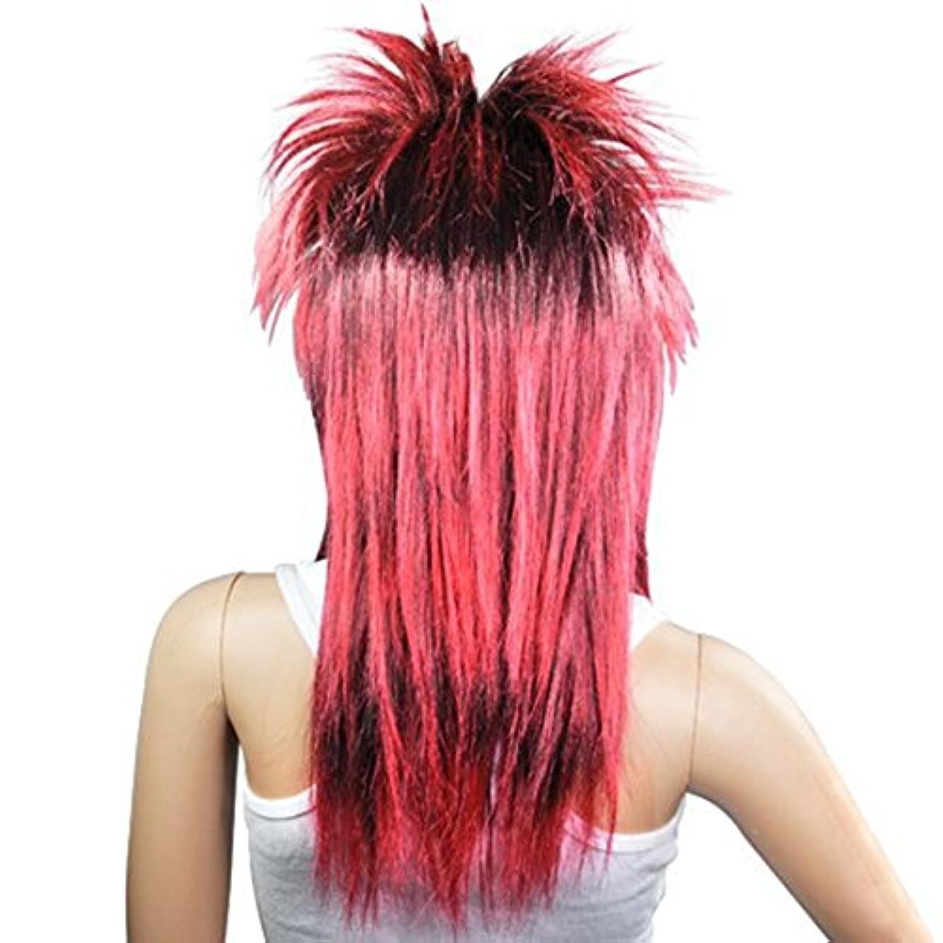 Cikuso 赤黒 女性の魅力的なパンクロッカーチックティナ?ターナーカーニバルかつら仮装コスチューム