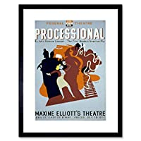 Theatre Processional New York Stage USA Retro Advertising Framed Wall Art Print アメリカ合衆国