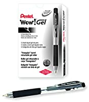 Pentel WOW! Gel Retractable Gel Pen 0.7mm Medium Line Black Ink, Box of 12 (K437-A) by Pentel