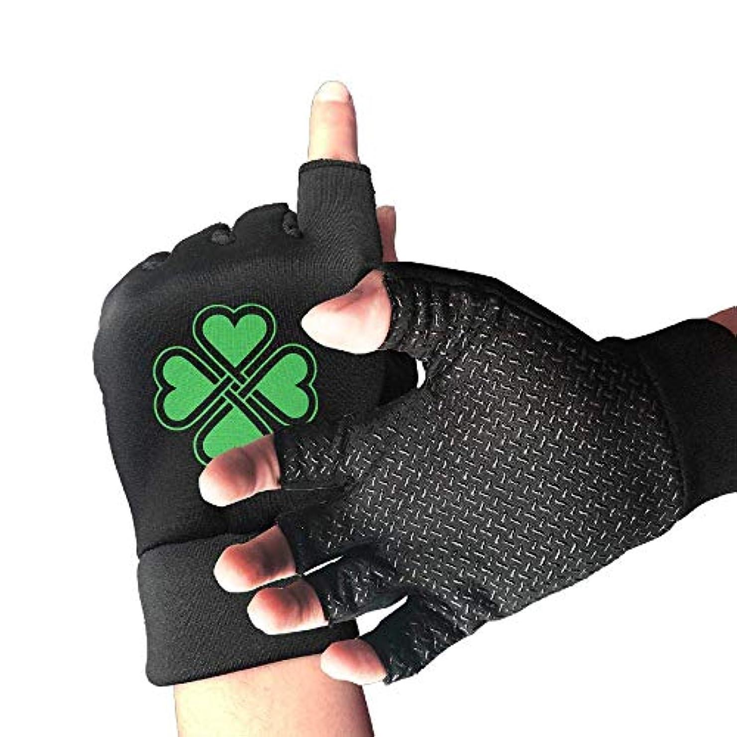 ショッピングセンター恥ずかしい健康Cycling Gloves Shamrock Heart Green Men's/Women's Mountain Bike Gloves Half Finger Anti-Slip Motorcycle Gloves