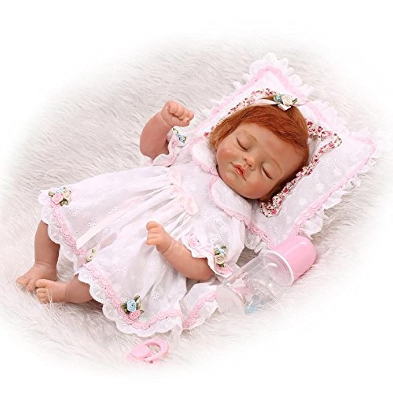 新生児Sleeping Fake Baby Girl So Truly Real Lifelike Reborn人形Crulyモヘア、子供17インチNursery Toy with her枕