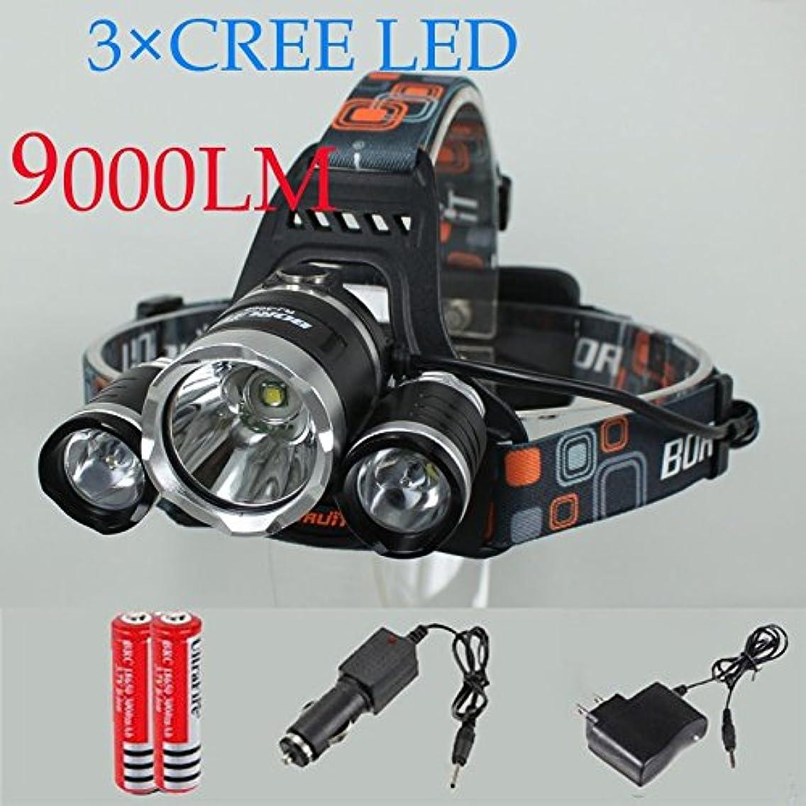 かび臭い政治的切るQiao Niuniu 3つのLEDヘッドランプ9000LM 4モード+ 2電池 +車の充電器(サイズ:USプラグ)