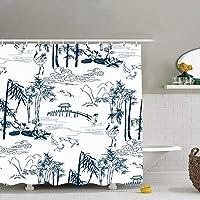 GooEoo 中国のLanscapeパターンシャワーカーテン3Dプリント防水コートポリエステル生地浴室12フック71インチ