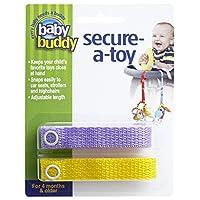 Baby Buddy ベビー バディ Secure-A-Toy 2ct おもちゃストラップ2色各1本組 【アメリカ製】 Yellow&Lilac イエロー&ライラック