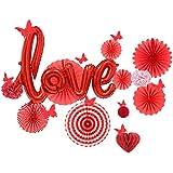 Easy Joy 母の日 飾り付けセット 壁飾り Loveバルーン ハート型ハニカムボール ペーパーポンポンフラワー ウェディング/結婚式 記念日 パーティーデコレーション ウオールステッカー 写真背景
