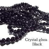 クリスタルガラス ビーズ ボタンカット ブラック 連売り 約8×6mm 《STONE KITCHEN パワーストーン 天然石》