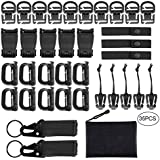 Fashionclubs 35pcs Tactical Molle Attachments for Molle Backpack,Molle Webbing Key Ring&Strap,360 Rotation D-Ring Clip, Web Dominator Elastic String&Buckle,Tactical D-Ring Hook,with Zippered Pouch