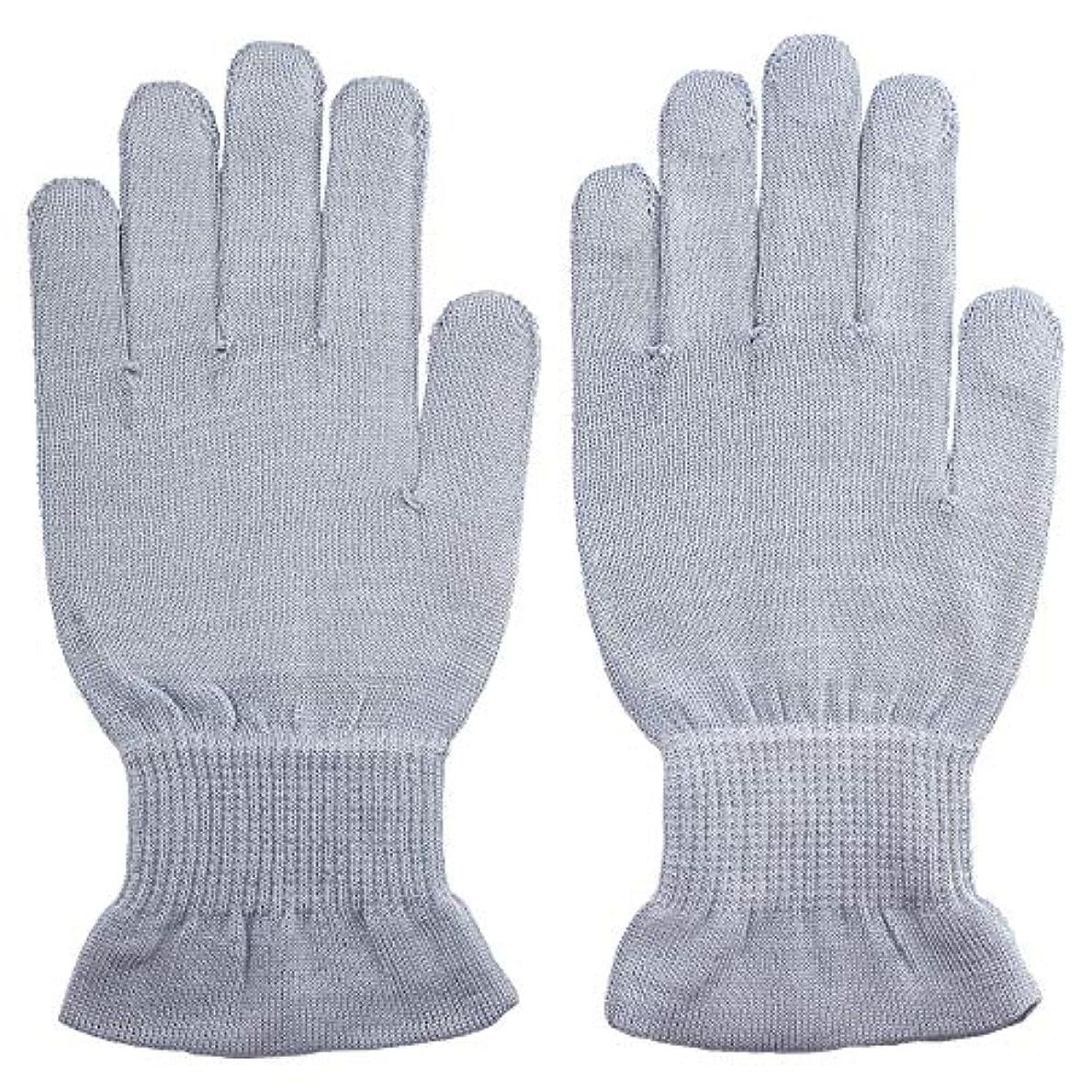 ボート記述する手当温むすび ハンドケア手袋 【手のひら美人 女性用 M~Lサイズ ペールブルー】