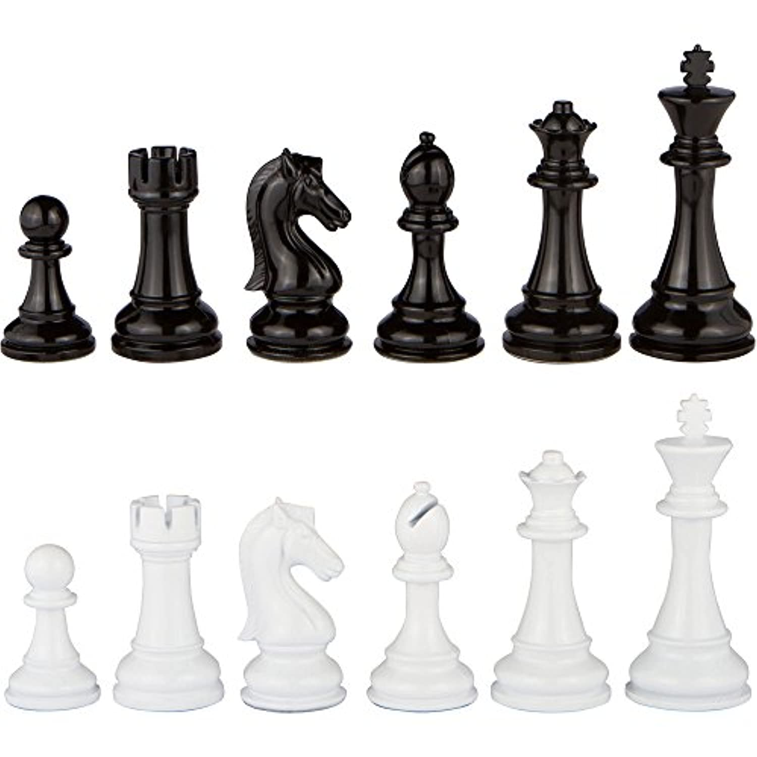 Minerva Black and White Extra Heavy Metal Chess Pieces with Extra Queens - Pieces Only - No Board - 4.5 Inch King