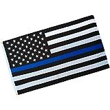【ノーブランド 品】90 x 150cm USA 警察 シン ブルーライン フラッグ 旗 メモリアル 法 施行 グロメット