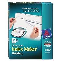 """lsk3b AveryインデックスメーカークリアラベルDivider–3–空白–8.50"""" Divider幅X 11インチDivider長–Letter–3穴パンチ–75/ボックス–ホワイトタブ"""