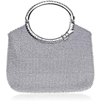 Women's Luxury Rhinestone Evening Bag, Fashion Wedding Wallet, Suitable for Parties, Dances, Cocktails, Ladies' Best Gifts (Color : Silver)
