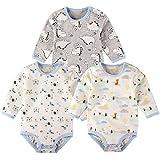 Baby Nest 長袖ボディースーツ 3枚セット 男の子 ベビー服 新生児 ロンパース コットン セット 恐竜 & 雲 & ベア 6-9M