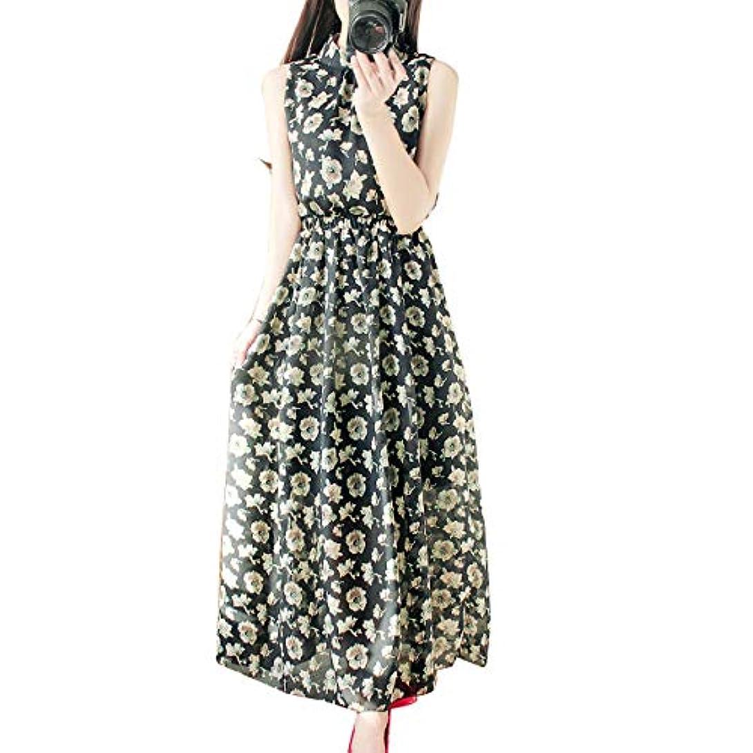 無声で五月プーノ[ココチエ] ワンピース ロング 花柄 シフォン ノースリーブ 半袖 かわ いい リゾート ホワイト ブラック