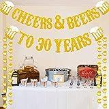 Cheers & Beers to 30 Years 本物のゴールドグリッターバナー 30歳の誕生日 結婚式 記念日 パーティー デコレーション用品