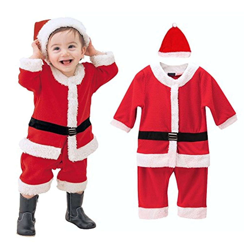 メロディー先入観簡単に(ビモラ)VIMORA クリスマス 子供服 帽子付き 赤ちゃん サンタ コスチューム 女の子 男の子 寝相 衣装 着ぐるみ ベビー服 (90cm, 男の子)
