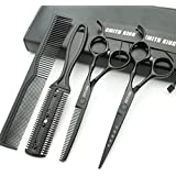 Hair Cutting Scissors Set with Combs Lether Scissors Case,Hair cutting shears Hair Thinning shears For Personal and Professional (6.0 inch, Black)