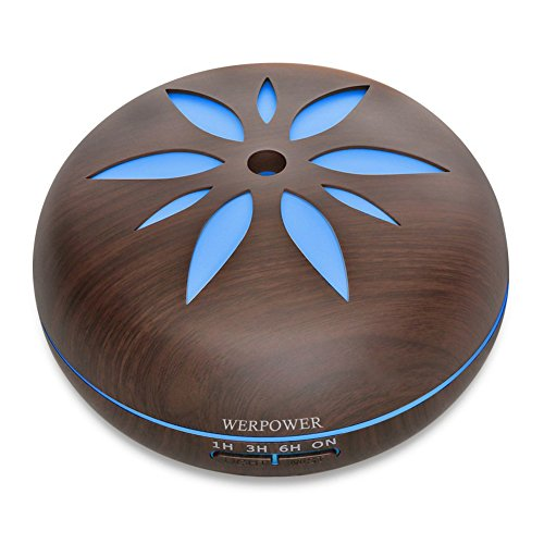 WERPOWER アロマディフューザー 超音波式 卓上加湿器 7色変換LED搭載 550ml リモコ...