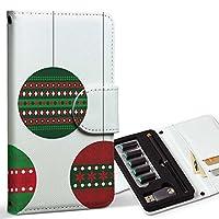 スマコレ ploom TECH プルームテック 専用 レザーケース 手帳型 タバコ ケース カバー 合皮 ケース カバー 収納 プルームケース デザイン 革 クリスマス 赤 緑 013698