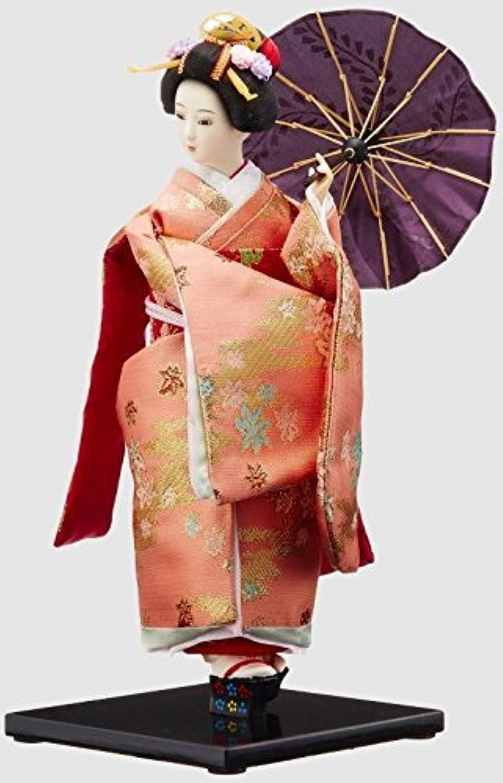 ホームステイのプレゼントに 日本人形 外国人への土産に最適! 日本人形 12インチ 傘(赤) 12-3