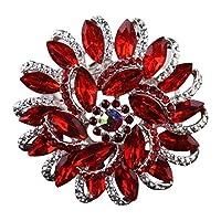 Ailerキラキラブローチの女性花図形作成されたクリスタルラインストーンコサージュブローチピンfor Wedding