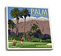 パームスプリングス、カリフォルニア–Golfingシーン 4 Coaster Set LANT-67961-CT