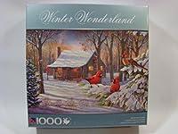 Winter Wonderland 1000ピースジグソーパズル:冬キャビンCardinals
