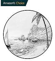 黒と白 ラウンドカーペット ヤシの木のボートとヒルズエキゾチックな休日の休暇プリントフロアマット 屋内用フロアマット 黒白の海岸ビーチ(直径-80cm)