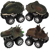 ゴシレ [Gosear] 4つの盛り合わせスタイルミニプルバック恐竜玩具トラック大きなタイヤホイール車セット子供の幼児の子供の日ギフト
