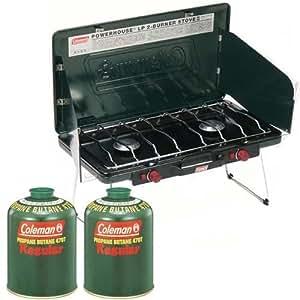 コールマン(Coleman) パワーハウス LPツーバーナーストーブ 2000006707 + LPガス燃料 ×2個 3点セット
