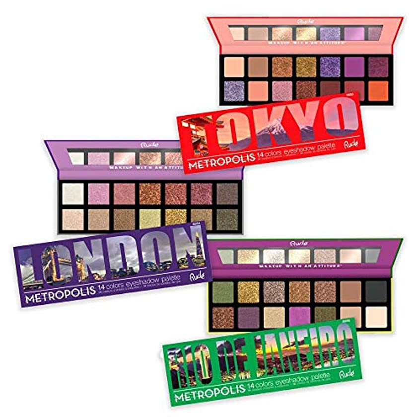 止まる大西洋黒くするRUDE Metropolis 14 Color Eyeshadow Palette (BUNDLE) (並行輸入品)