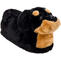 Silver Lilly Rottweiler Slippers - Plush Dog Slippers w/Platform