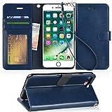 【Arae】iPhone 8 Plus ケース/iPhone 7 Plus ケース 手帳型「スタンド ストラップ カードポケット」財布型 スマホケース 耐衝撃 おしゃれ おすすめ アイフォン8 プラス/アイフォン7 プラス 用 ケース カバー(ダークブルー)