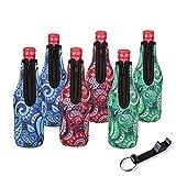 Laguteペイズリービールボトルクーラーwith Zipper Set of 6ネオプレンInsulatorsブラックCoolieドリンクボトル、袖with Beer Opener