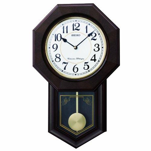 セイコー クロック 掛け時計 アナログ 報時選択式 チャイム&ストライク 飾り振り子 八角尾長 木枠 濃茶 木地 RQ325B SEIKO