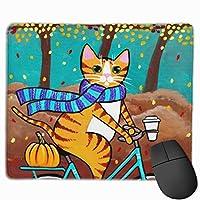 森の中の自転車に乗る猫 マウスパッド ノンスリップ 防水 高級感 習慣 パターン印刷 ゲーミング ホビー 事務 おしゃれ 学習