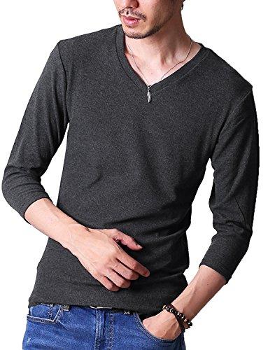 FTELA(フテラ)メンズ シャツ カットソー Tシャツ ロンT Vネック 無地 7分袖 シンプル スリム 春 ダークグレー XL