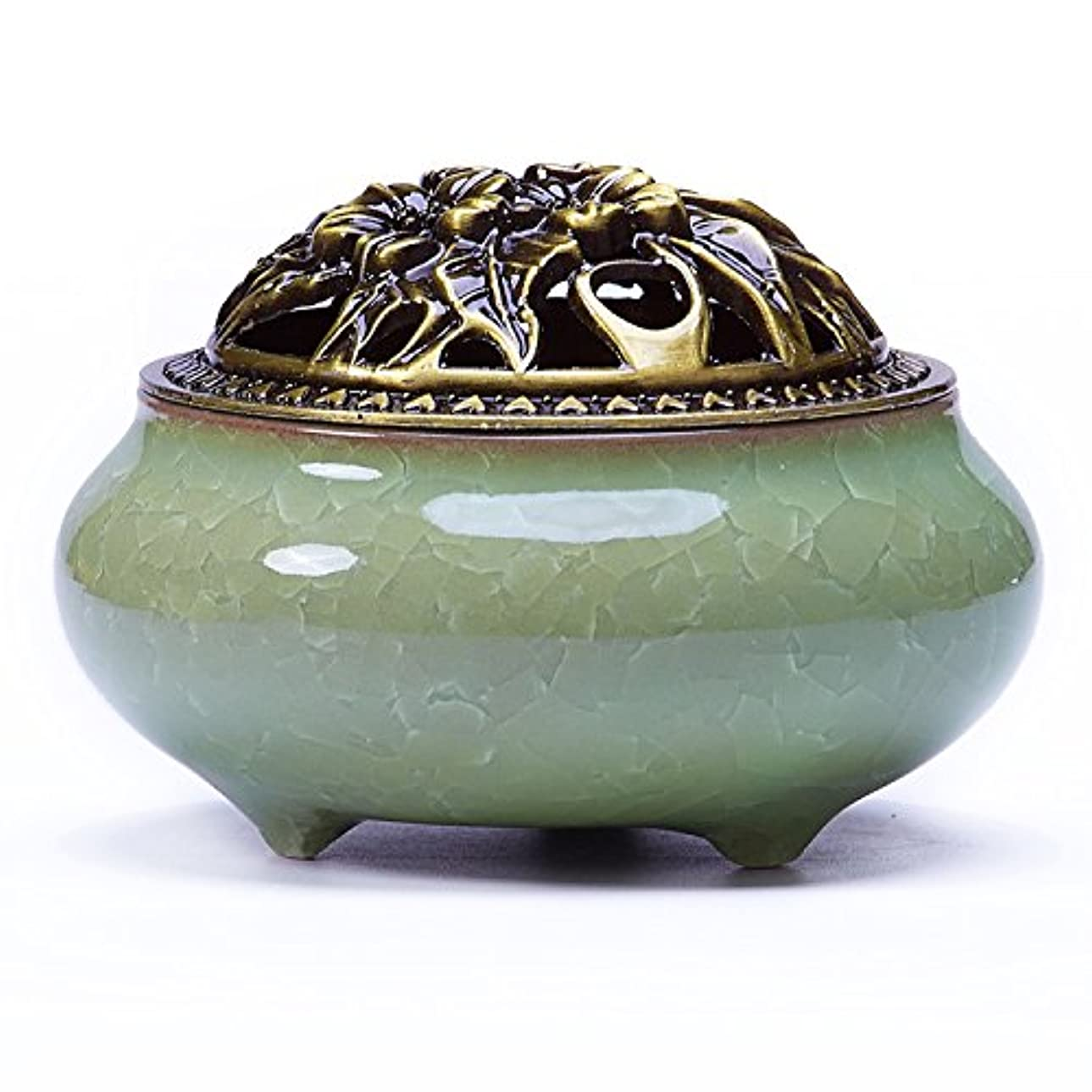 アクセル側記録UoonハンドメイドCone Incense Burner with真鍮Calabashホルダーfor Stick Incense and Coin Incense UOON-BL001
