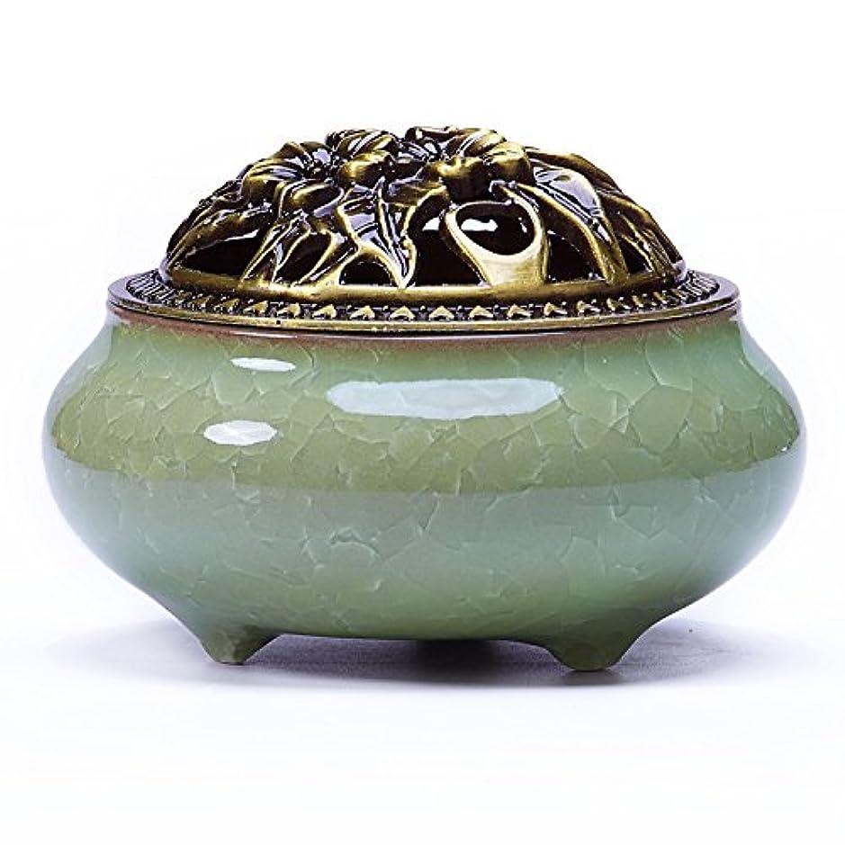 昼食爵欠席UoonハンドメイドCone Incense Burner with真鍮Calabashホルダーfor Stick Incense and Coin Incense UOON-BL001